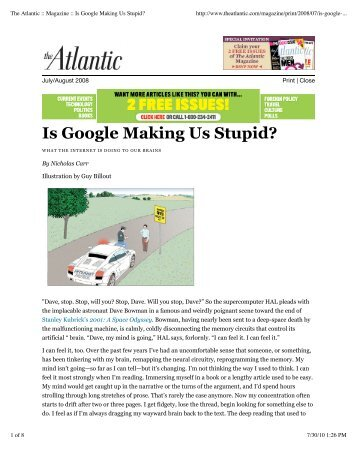 "essays on is google making us stupid Is google making students stupid the author of the 2008 atlantic cover story ""is google making us stupid in her essay reacting to."