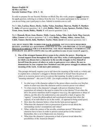 Honors English 10 Of Mice and Men Socratic Seminar Prep – (Ch. 1 ...