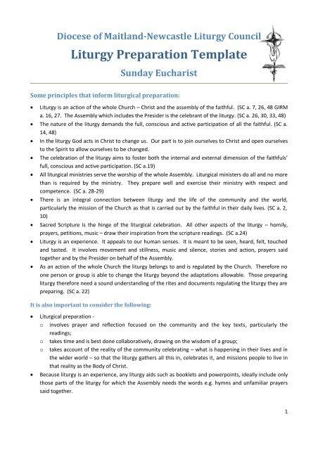 DLC Liturgy Preparation Template for Sunday Eucharist