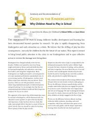 Crisis in the Kindergarten: Why Children Need to Play ... - The Strong