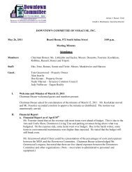 DOWNTOWN COMMITTEE OF SYRACUSE, INC. May 26, 2011 ...