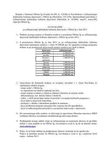 Javni razpis za sofinanciranje ljubiteljske kulturne ... - Občina IG