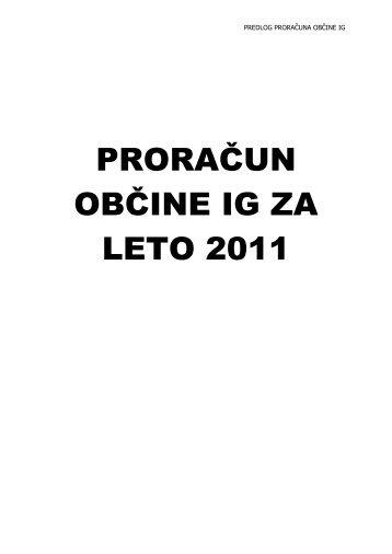 Predlog proračuna Občine Ig za leto 2011 - Občina IG