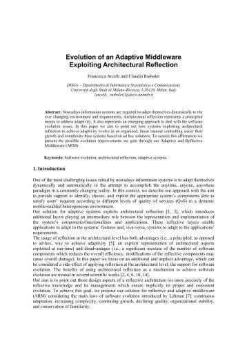 Evolution of an Adaptive Middleware Exploiting ... - CiteSeerX