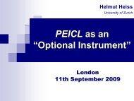 Prof. Dr Helmut Heiss - presentation - PEICL - BILA