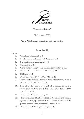 World Wide Freezing Injunctions and Subrogation - BILA