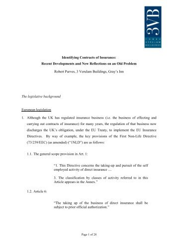 Identifying Contracts of Insurance: Recent Developments and ... - BILA