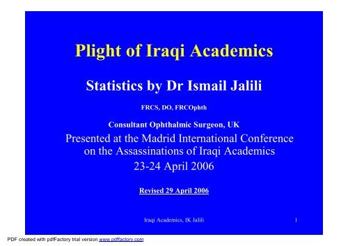 Plight of Iraqi Academics