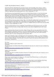CAABU Daily Broadsheet Summary - 29/09/06 Israeli Prime Minister ...