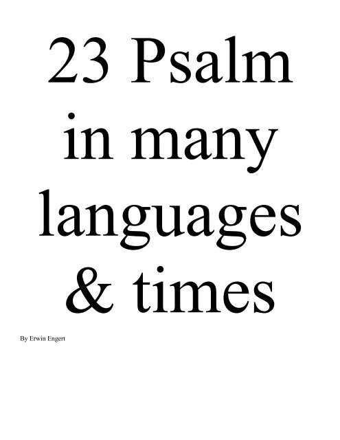 PDF file The 23 Psalm from different bibles - Engert us