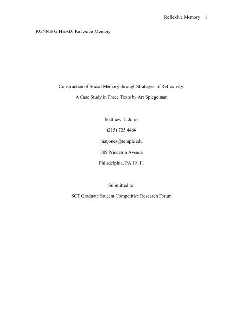 Reflexive Memory 1 RUNNING HEAD - Matt's Media Research