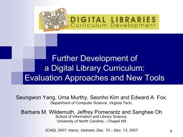 Presentation Slides - Digital Library Curriculum Project - Virginia Tech