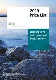 2010 Price List* - CCH Australia