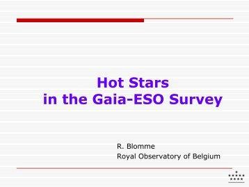 Hot Stars in the Gaia-ESO Survey - GREAT-ESF Stellar ...