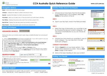 CCH Australia Quick Reference Guide