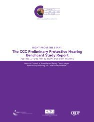 the CCC Preliminary Protective hearing Benchcard Study Report