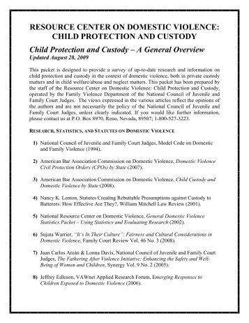 CHILD PROTECTION AND CUSTODY Child Protection and Custody