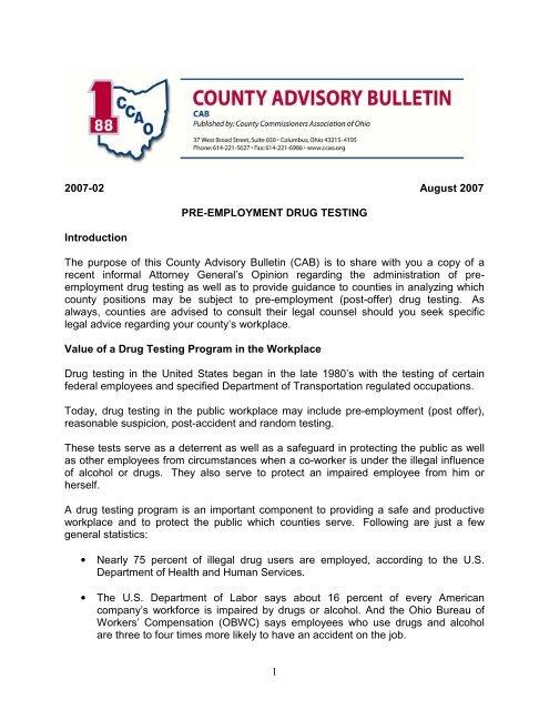 1 2007-02 August 2007 PRE-EMPLOYMENT DRUG TESTING