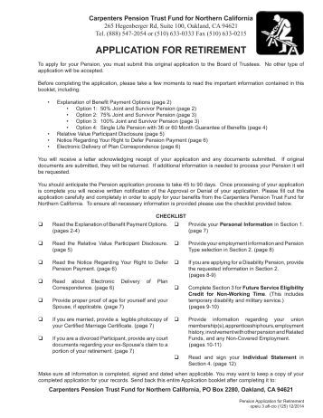 1 application for ill health retirement in - Carpenter funds administrative office ...