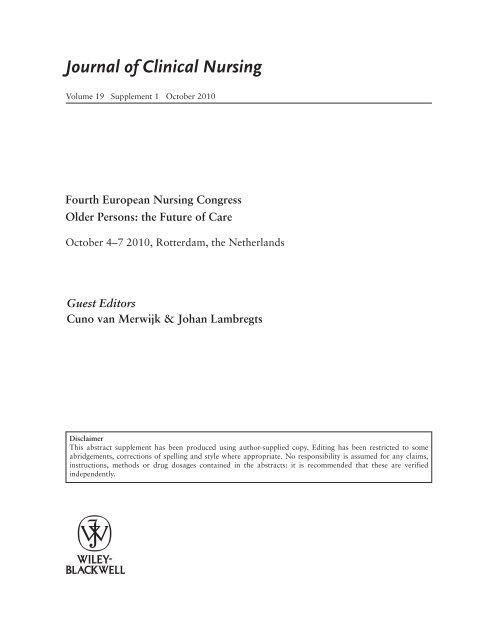 Fourth European Nursing Congress Older Persons
