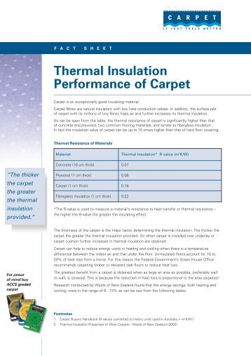 Thermal Insulation Performance of Carpet - Carpet Institute of Australia
