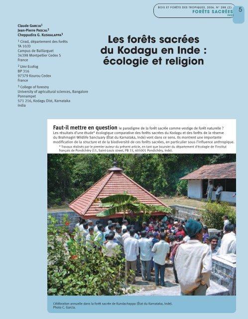 Les forêts sacrées du Kodagu en Inde : écologie et religion