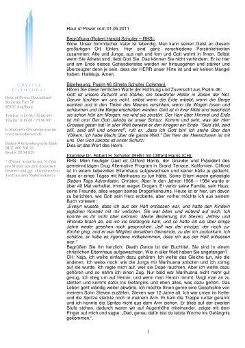 Hour of Power vom 01.05.2011 Begrüßung (Robert  Harold Schuller ...