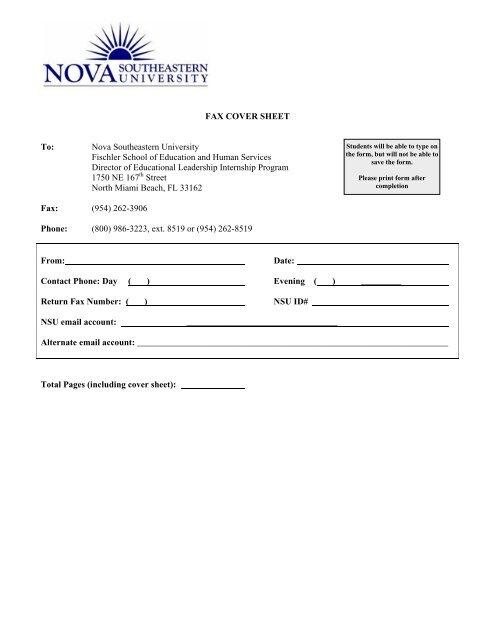 Fax Cover Sheet To Nova Southeastern University Fischler 1