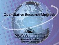 Quantitative Research Methods - Fischler School - 1