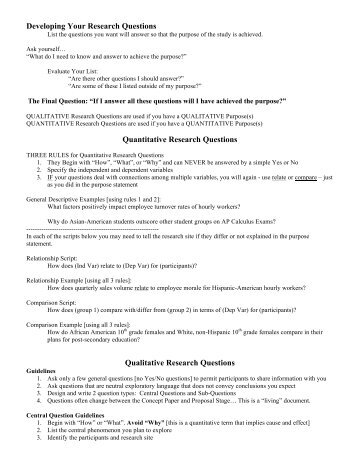 Developing Your Research Questions Quantitative Research ... - 1
