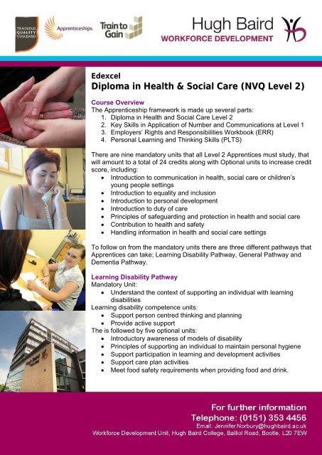 Diploma In Health Social Care Nvq Level 2 Hugh Baird College