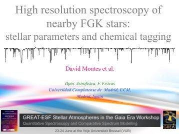 High resolution spectroscopy of nearby FGK stars - GREAT-ESF ...