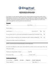 Employment Application - Digital Marketing Services