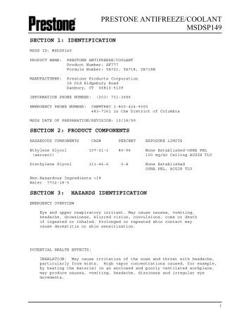 prestone antifreeze/coolant msdsp149 - Nuka Research and Planning