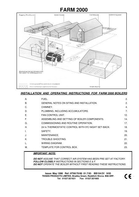 installation and operating instructions for farm 2000 boilers