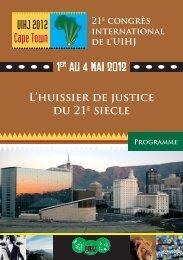Programme du 21e congrès (PDF) - UIHJ
