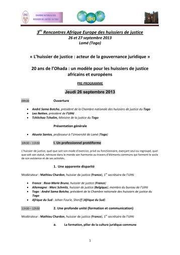 Programme 3es rencontres Afrique Europe - UIHJ