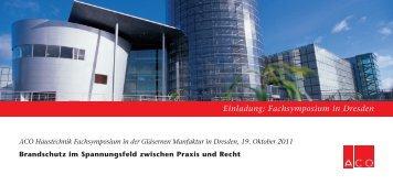 Einladung: Fachsymposium in Dresden - bei der ACO Academy!