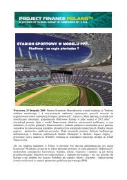 Stadion sportowy w modelu PPP - Project Finance Poland