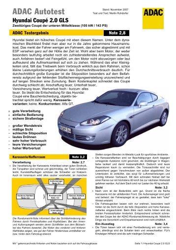 Umfassender Test Hyundai Coupé 2.0 GLS - ADAC