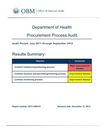 ODH - Procurement Process Audit - Ohio Shared Services - State of ...