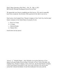 Deaf Culture Question of the Week – Feb. 28 – Mar. 4, 2011 Bill ...