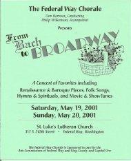 The Federal Way Chorale Saturday, May 19, 2001 Sunday, May 2Q ...