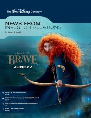 NEWS FROM INVESTOR RELATIONS - The Walt Disney Company