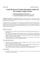 Castle Resources Provides Operations Update for the Granduc