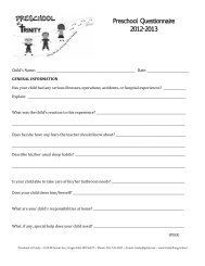 Preschool Questionnaire 2012-2013