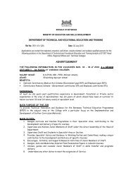 department of technical and vocational ... - Ministry of Education