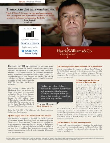 Balancing Seller Objectives - Harris Williams & Co.