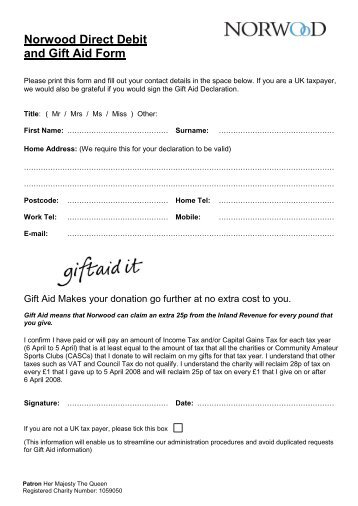 Donation And Direct Debit Mandate Form - University Of Central