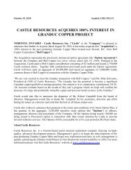 Castle Resources Acquires 100% Interest in Granduc Copper Project